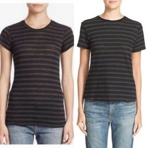 VINCE Black/Charcoal Striped T Shirt S
